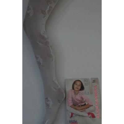 Белые детские колготки белый Amelia 3D TM Aleksandra