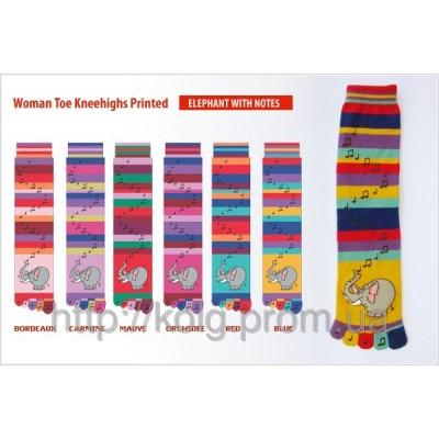 Носки женские с пальцами и печатным рисунком